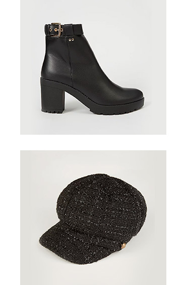 Product images of black heeled boot with buckle and black baker boy hat