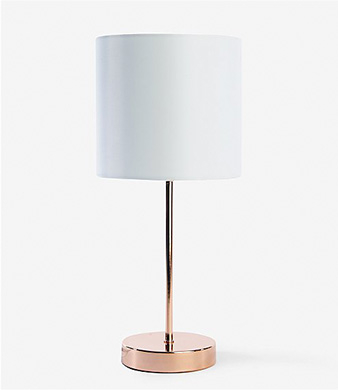 Table lamp with white shade and rose gold base