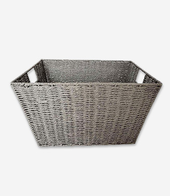 Product shot of grey storage basket