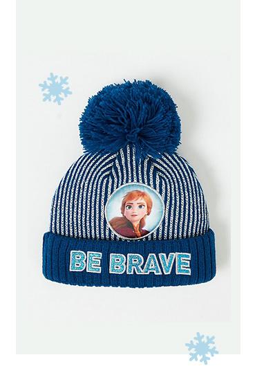 Blue Frozen 'Be brave' slogan bobble hat