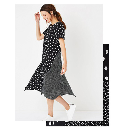 Spot prints never go out of style, and this monochrome design comes with handkerchief hem