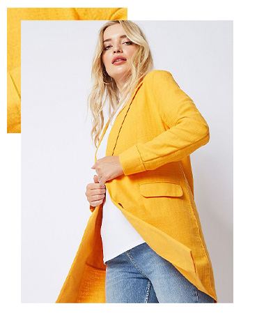 Pair this gorgeous yellow linen blend blazer with a neutral top to really make it pop