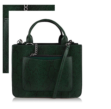 Made from faux leather, this miniature green tote bag is designed with a snakeskin-effect print