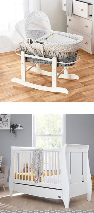 White baby nursery features Kinder Valley adventure grey wicker moses basket and white dresser. Grey baby nursery features white Tutti Bambini sleigh cot bed.