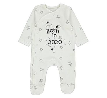 White 'Born in 2020' star print sleepsuit