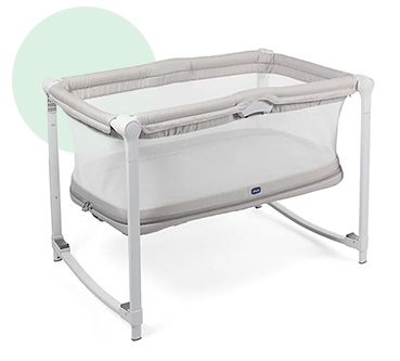 Grey travel cot
