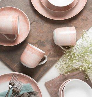 Portmeirion Studio crackle pink 16 piece set.