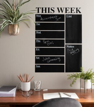 Home office features this week wall chalk planner.