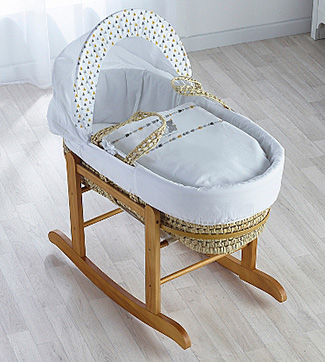 Moses basket in a room