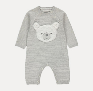 Grey all in one with a friendly bear face design