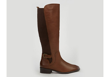 Tan leather knee high panelled boots