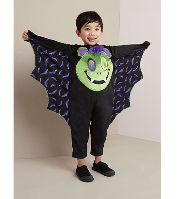 Child wearing George bat lenticular Halloween costume