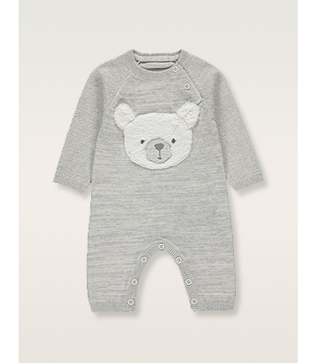 Grey sleepsuit with bear design