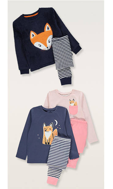 Long sleeve kids' pyjama sets designed with foxes in black, blue and pink