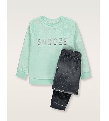 Green long sleeve pyjama top with 'Snooze' slogan and grey bottoms