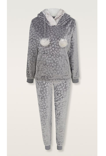 Grey hoodie with pom poms and matching bottoms