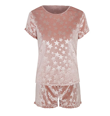Product image of Tickled Pink velour star print short pyjamas
