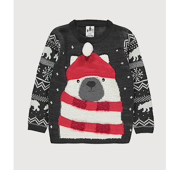 Grey Christmas jumper designed with a polar bear