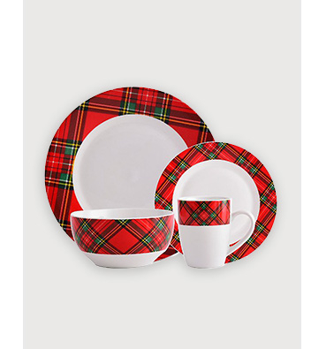Tartan dinner set including dinner plate, side plate, bowl and mug