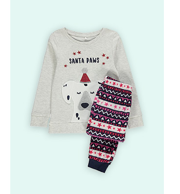 Grey 'Santa paws' slogan jumper and festive bottoms