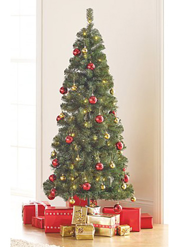 Christmas tree with red and gold baubles and presents underneath