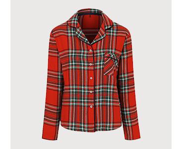 Red tartan pyjama shirt