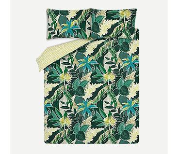 Green jungle floral bedding set