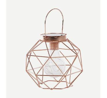 Copper effect geometric lamp