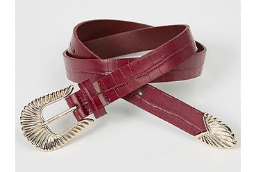 Red mock croc western shell buckle belt