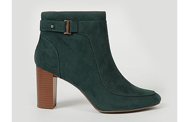 Emerald green suede effect buckle ankle boots