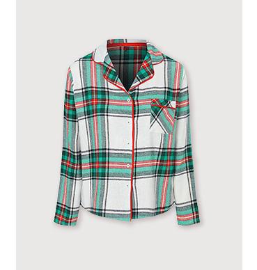 Green check pyjama shirt