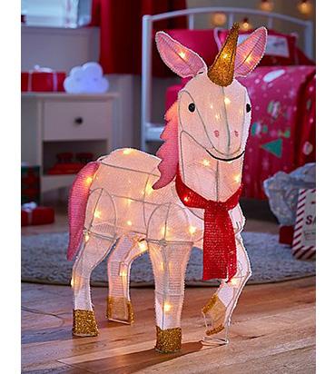 Pink unicorn shaped Christmas light