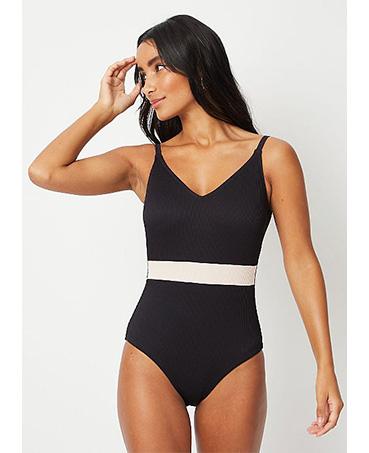 Black ribbed band plunge swimsuit