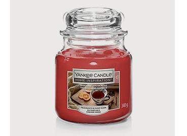 Yankee candle with mandarin cinnamon tea fragrance in medium jar
