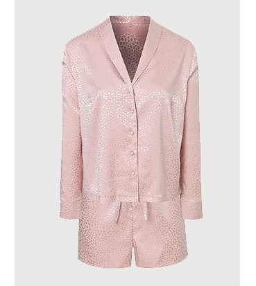 Product image of a pink leopard print satin pyjama shirt and shorts