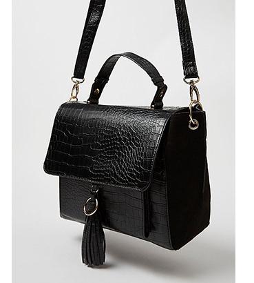 Black mock croc tassel crossbody bag