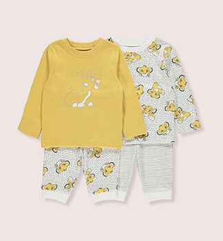 Two Disney's The Lion King baby outfits, both designed with Simba