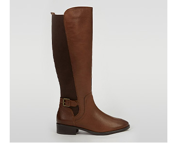 Brown faux leather boot