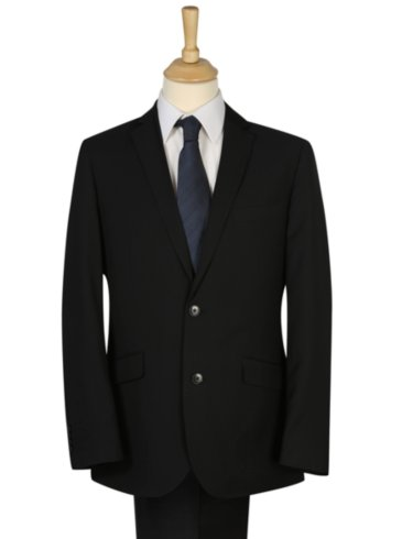 Regular Fit Black Pinstripe Suit