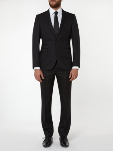 Tailor & Cutter Slim Fit Jacquard Suit - Black