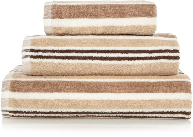 Striped Natural 100% Cotton Towel Range