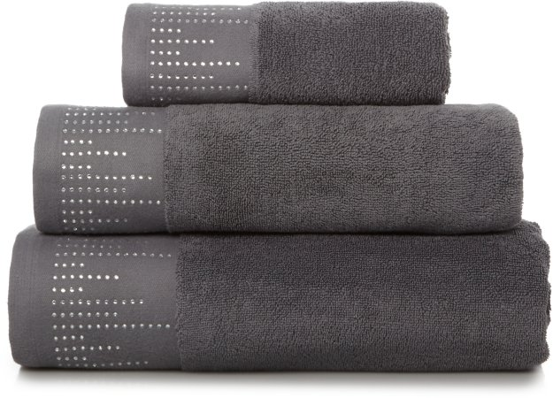 100% Cotton Grey Diamante Towel Range