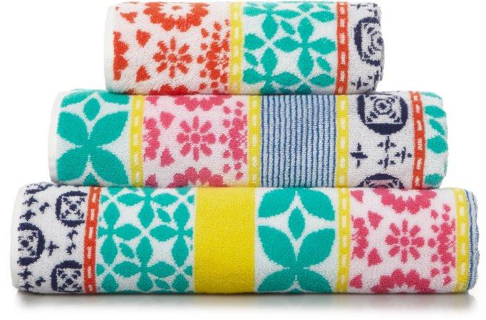 100% Cotton Bright Pattern Stripe Towel Range