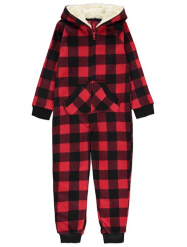 Check Onesie and Slippers Set