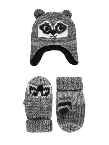 Raccoon Trapper Hat & Mittens Set
