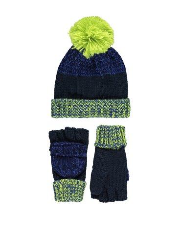 Knitted Bobble Hat & Flip Mitt Gloves Set