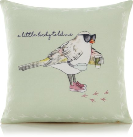 A Little Birdy Told Me Slogan Mini Cushion