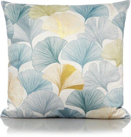 Teal Leaf Print Cushion