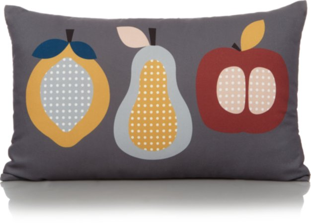 Grey Fruit Print Cushion