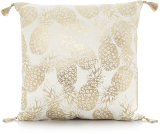 Gold Foil Pineapple Print Cushion